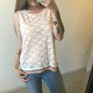 Tops - Lace pink and white tank top